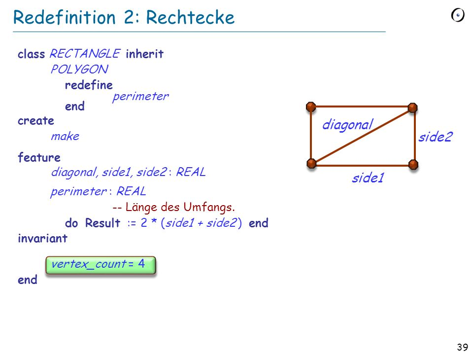 38 Redefinition 1: Polygone class POLYGON inherit CLOSED_FIGURE create make feature vertex : ARRAY [POINT] vertex_count : INTEGER perimeter : REAL -- Länge des Umfangs.
