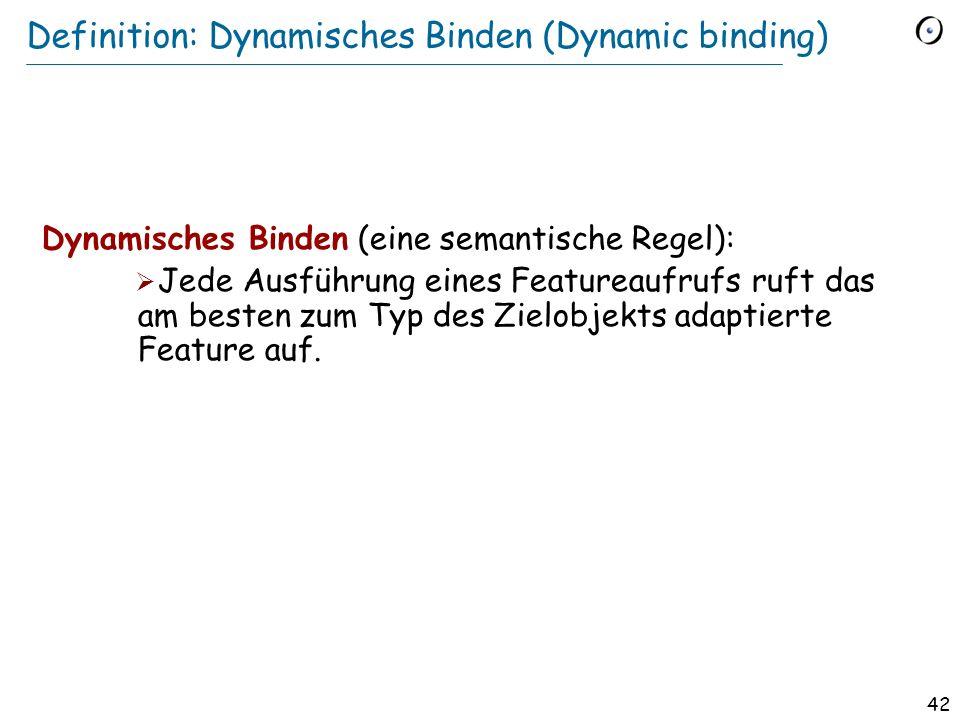 41 Dynamisches Binden Was ist hier das Resultat (falls ein_test wahr ist)? if ein_test then p := r else p := t end x := p. perimeter Redefinition: Ein