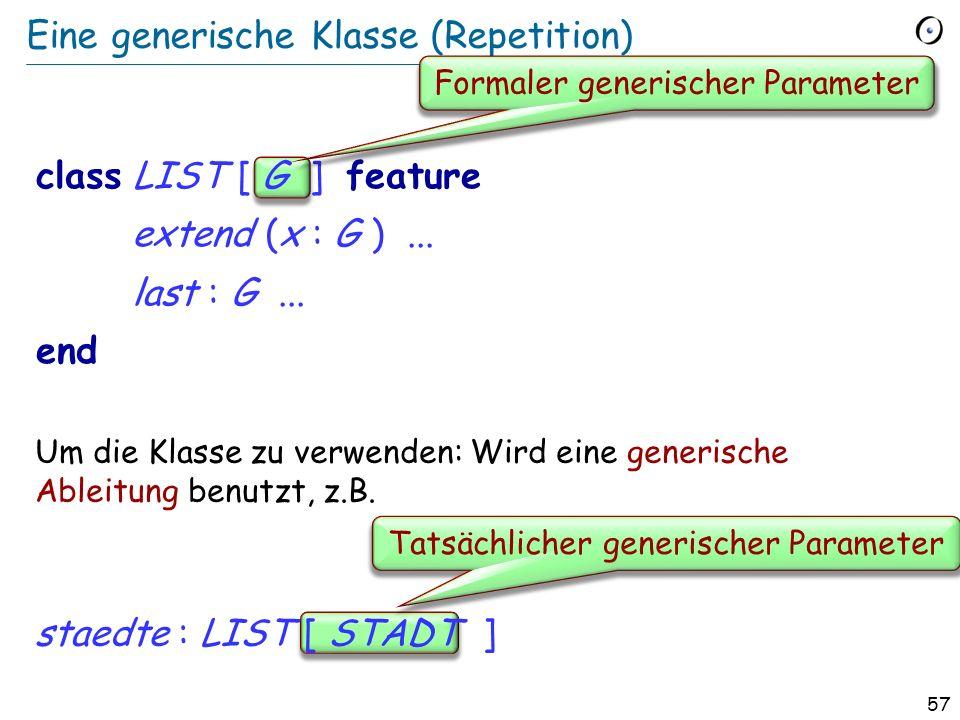 56 Generizität (Repetition) Ohne Einschränkung LIST [G] e.g. LIST [INTEGER], LIST [PERSON] Eingeschränkt HASH_TABLE [G > HASHABLE] VECTOR [G > NUMERIC