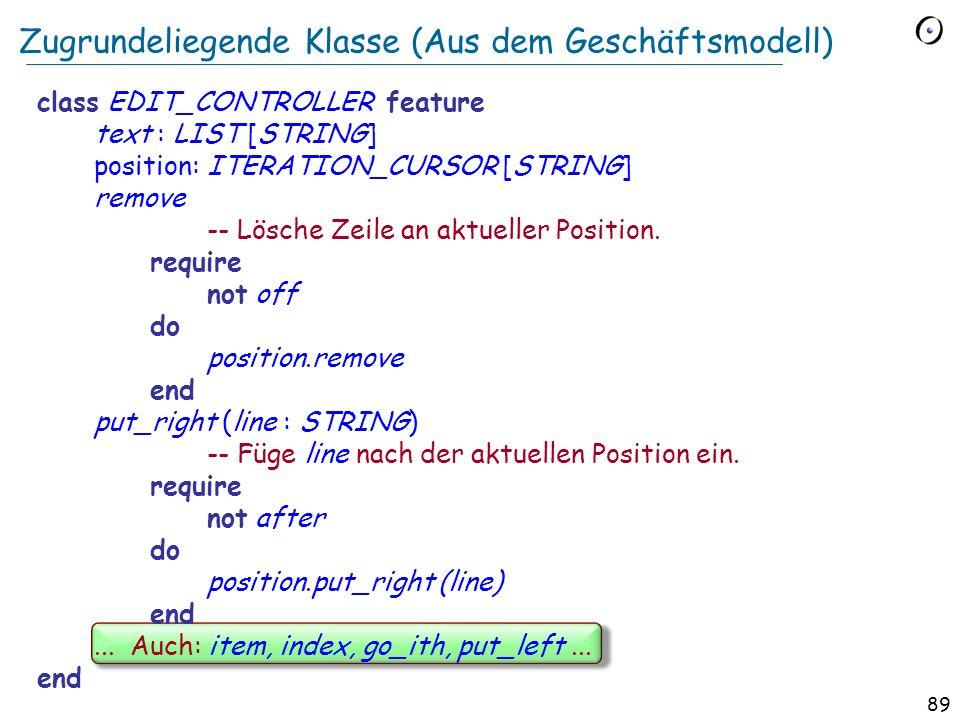 88 Die Befehl-Klassenhierarchie execute * undo* … execute + undo + line: STRING index: INTEGER... execute + undo + index... * BEFEHL + LÖSCHEN + EINFÜ