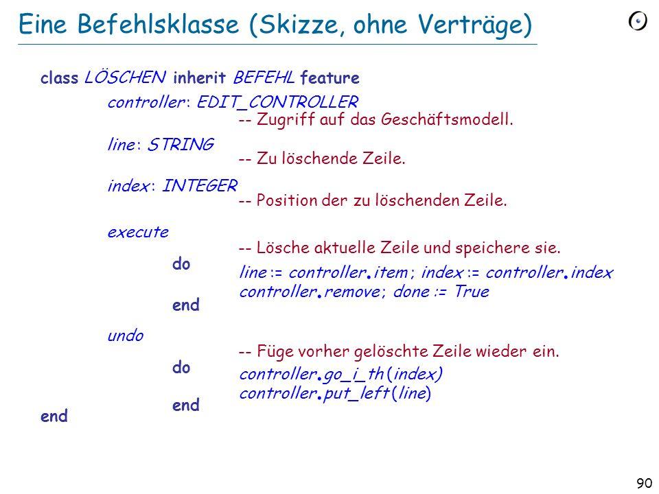 89 Zugrundeliegende Klasse (Aus dem Geschäftsmodell) class EDIT_CONTROLLER feature text : LIST [STRING] position: ITERATION_CURSOR [STRING] remove --