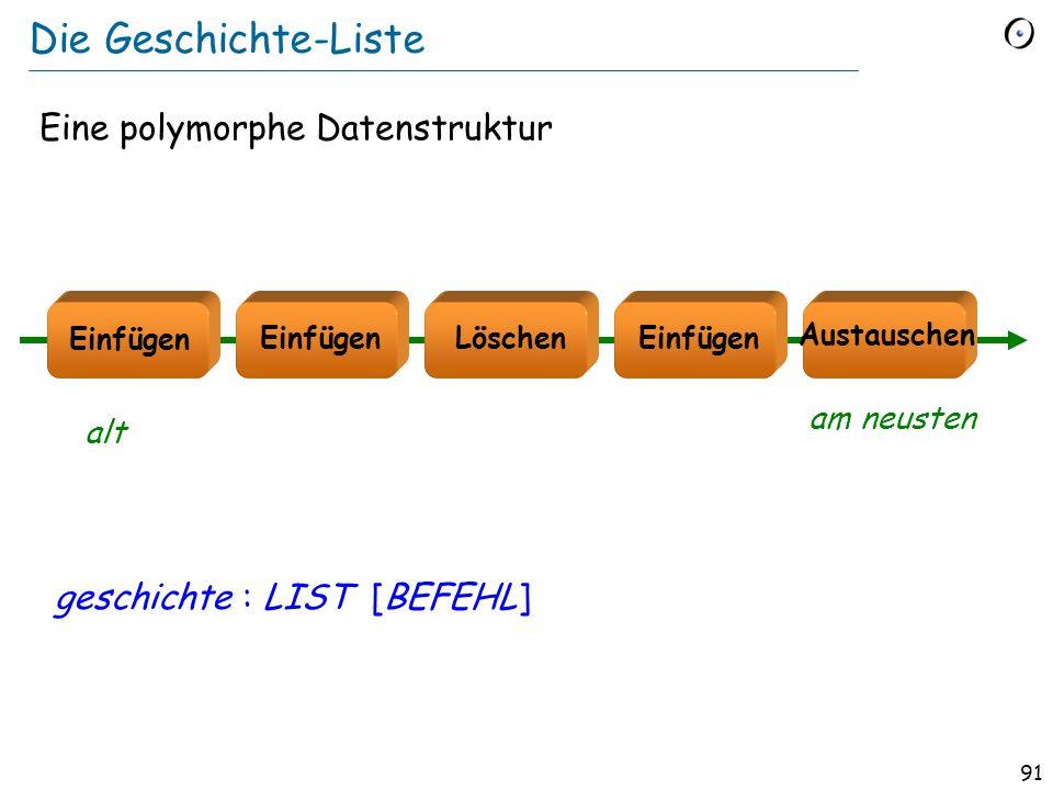 90 Eine Befehlsklasse (Skizze, ohne Verträge) class LÖSCHEN inherit BEFEHL feature controller : EDIT_CONTROLLER -- Zugriff auf das Geschäftsmodell.