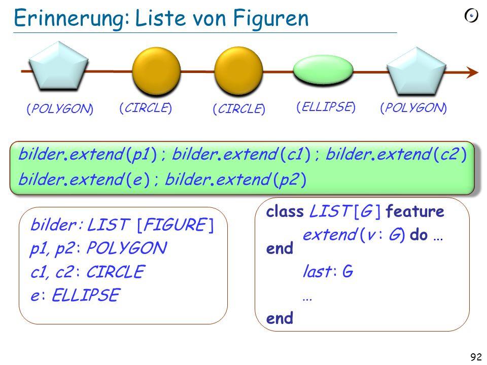 91 Die Geschichte-Liste Eine polymorphe Datenstruktur geschichte : LIST [BEFEHL] Löschen Austauschen Einfügen alt am neusten