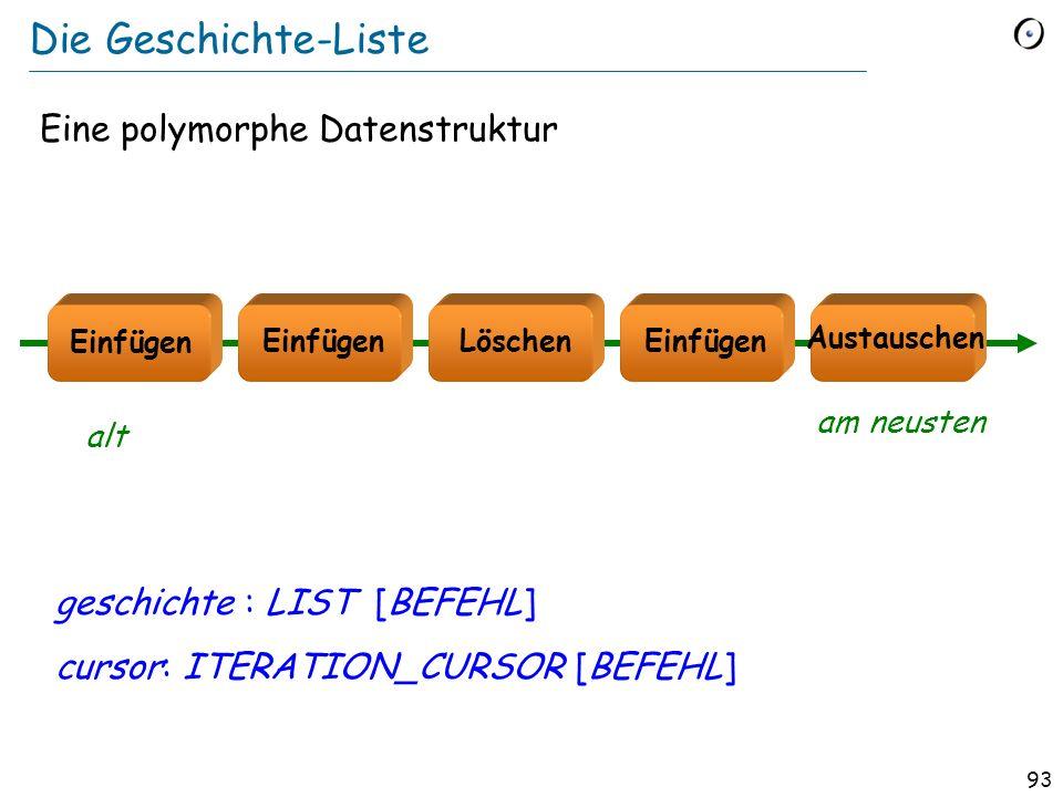92 Erinnerung: Liste von Figuren bilder : LIST [FIGURE ] p1, p2 : POLYGON c1, c2 : CIRCLE e : ELLIPSE class LIST [G ] feature extend (v : G) do … end