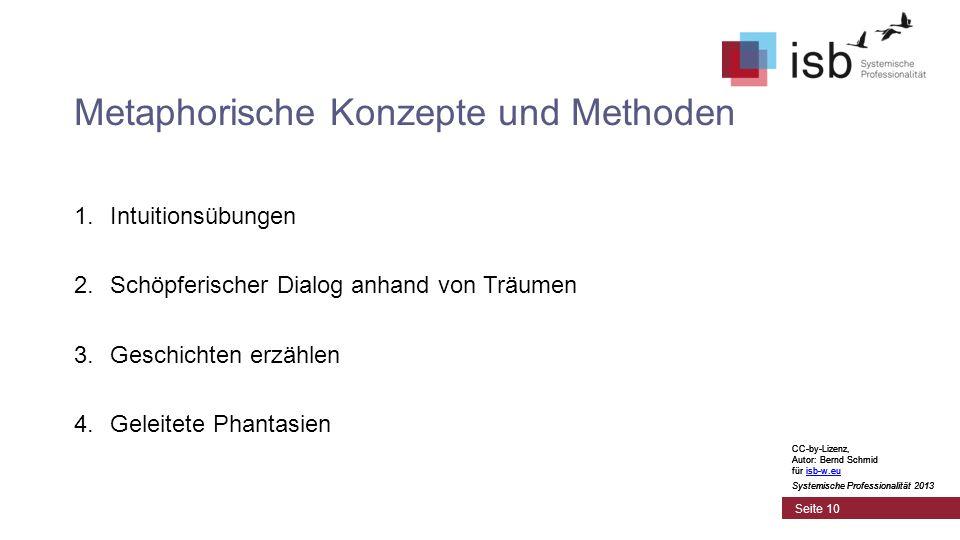 CC-by-Lizenz, Autor: Bernd Schmid für isb-w.euisb-w.eu Systemische Professionalität 2013 Seite 10 Metaphorische Konzepte und Methoden 1.Intuitionsübungen 2.Schöpferischer Dialog anhand von Träumen 3.Geschichten erzählen 4.Geleitete Phantasien CC-by-Lizenz, Autor: Bernd Schmid für isb-w.euisb-w.eu Systemische Professionalität 2013 CC-by-Lizenz, Autor: Bernd Schmid für isb-w.euisb-w.eu Systemische Professionalität 2013