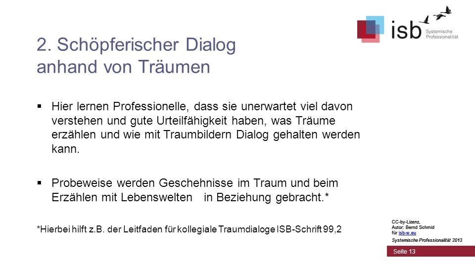 CC-by-Lizenz, Autor: Bernd Schmid für isb-w.euisb-w.eu Systemische Professionalität 2013 Seite 13 2.