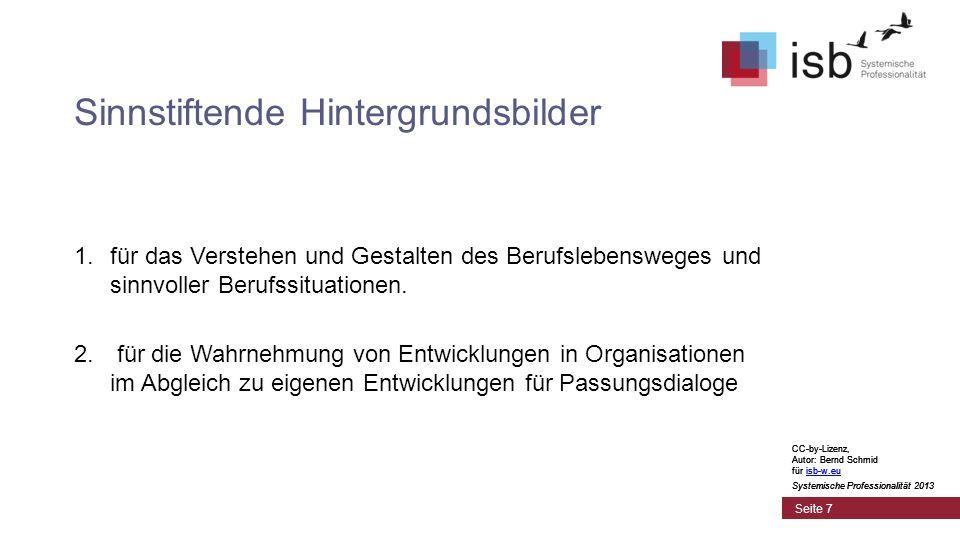CC-by-Lizenz, Autor: Bernd Schmid für isb-w.euisb-w.eu Systemische Professionalität 2013 Seite 7 Sinnstiftende Hintergrundsbilder 1.für das Verstehen und Gestalten des Berufslebensweges und sinnvoller Berufssituationen.