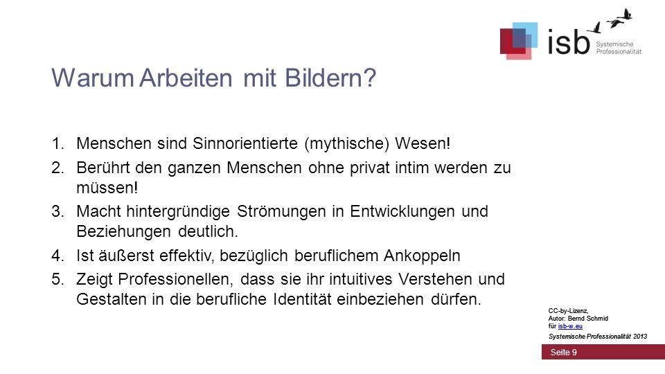 CC-by-Lizenz, Autor: Bernd Schmid für isb-w.euisb-w.eu Systemische Professionalität 2013 Seite 9 Warum Arbeiten mit Bildern.