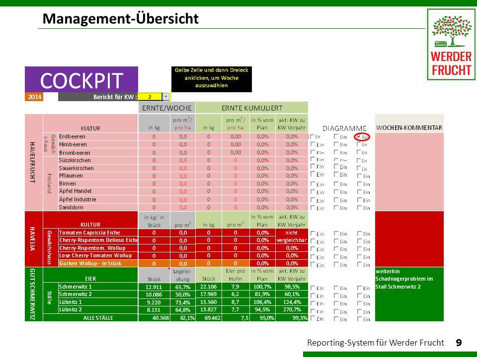 Management-Übersicht 9 Reporting-System für Werder Frucht
