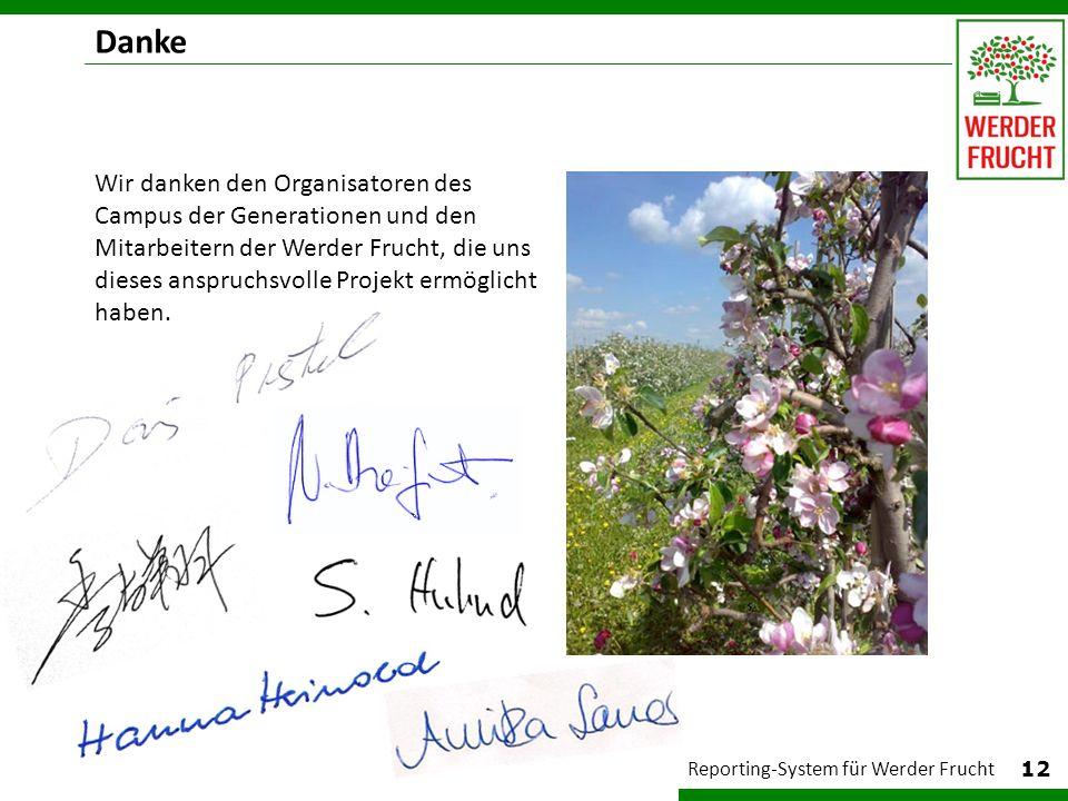 12 Reporting-System für Werder Frucht Wir danken den Organisatoren des Campus der Generationen und den Mitarbeitern der Werder Frucht, die uns dieses