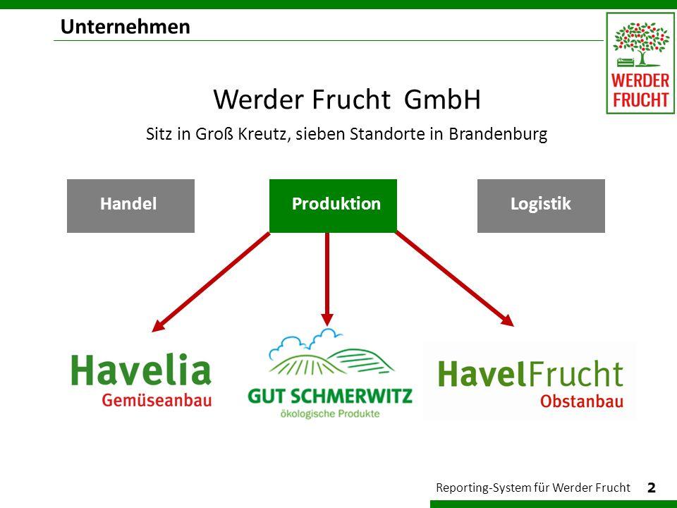 Ziel: Managementinformation 3 Reporting-System für Werder Frucht Anforderungen Reporting einheitlich, übersichtlich wöchentlich mit Produktivitätskennzahlen Vergleich zum Plan und Vorjahr grafische Aufbereitung benutzerfreundlich Wir möchten die Hand näher am Puls haben.