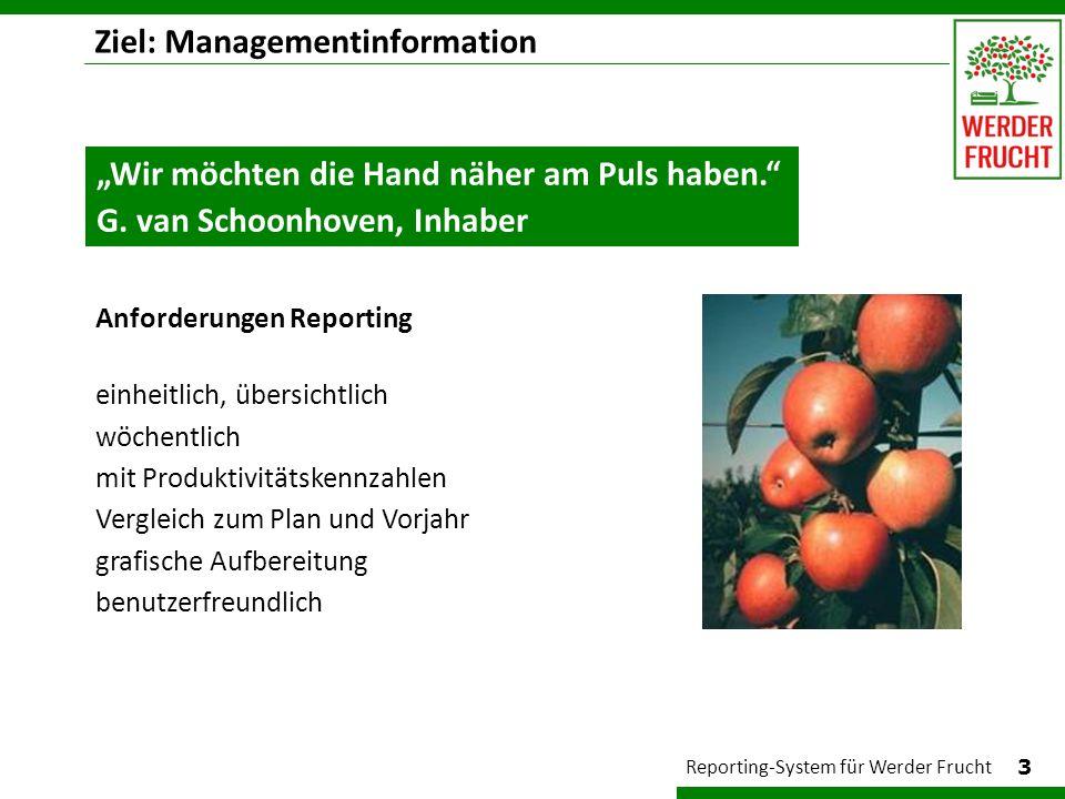 Ziel: Managementinformation 3 Reporting-System für Werder Frucht Anforderungen Reporting einheitlich, übersichtlich wöchentlich mit Produktivitätskenn
