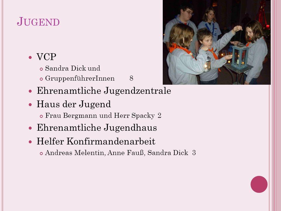 J UGEND VCP Sandra Dick und GruppenführerInnen8 Ehrenamtliche Jugendzentrale Haus der Jugend Frau Bergmann und Herr Spacky2 Ehrenamtliche Jugendhaus H