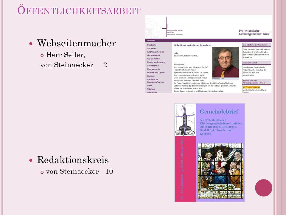 Ö FFENTLICHKEITSARBEIT Webseitenmacher Herr Seiler, von Steinaecker 2 Redaktionskreis von Steinaecker 10