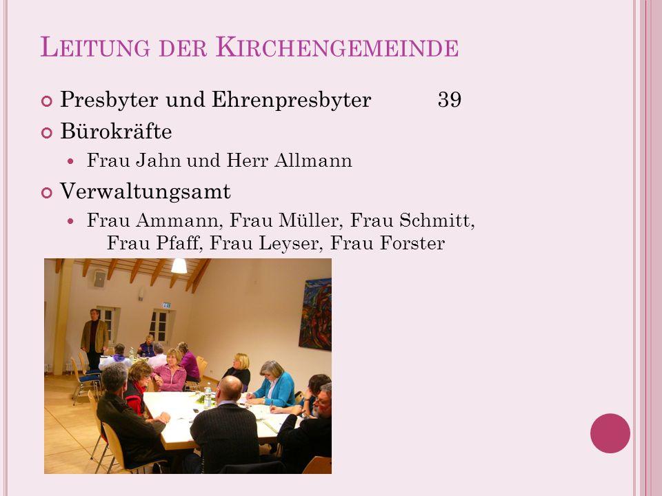 L EITUNG DER K IRCHENGEMEINDE Presbyter und Ehrenpresbyter39 Bürokräfte Frau Jahn und Herr Allmann Verwaltungsamt Frau Ammann, Frau Müller, Frau Schmi