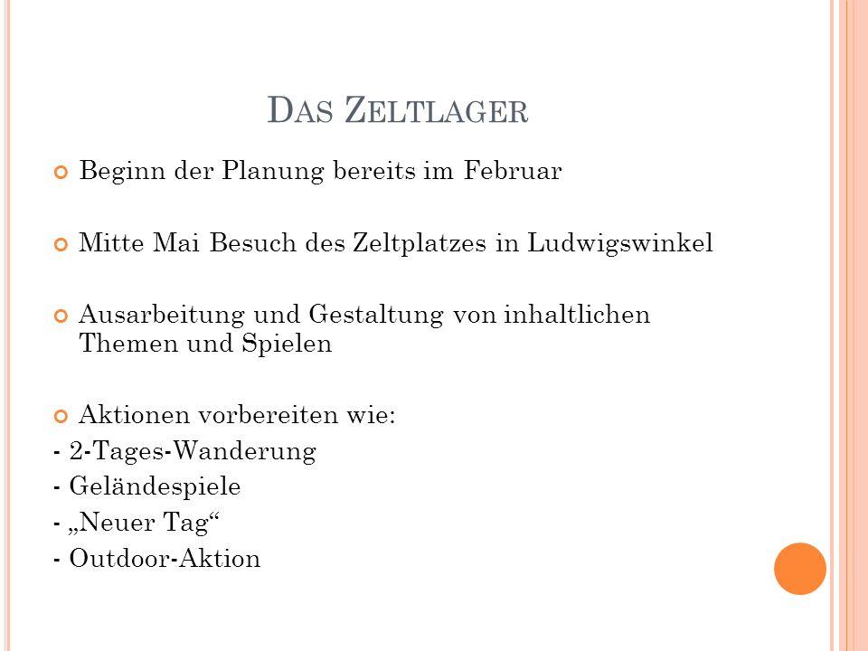 D AS Z ELTLAGER Beginn der Planung bereits im Februar Mitte Mai Besuch des Zeltplatzes in Ludwigswinkel Ausarbeitung und Gestaltung von inhaltlichen T