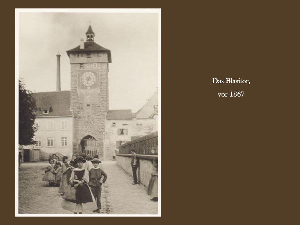 Blick vom Barfüsserplatz in Richtung der heutigen Falknerstrasse, vor 1870