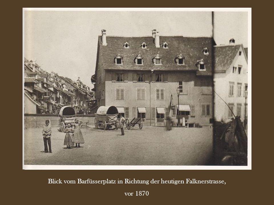 Die alte Engelsburg bi der Klosterbergbrücke (an der heutigen Theaterstrasse), vor 1873
