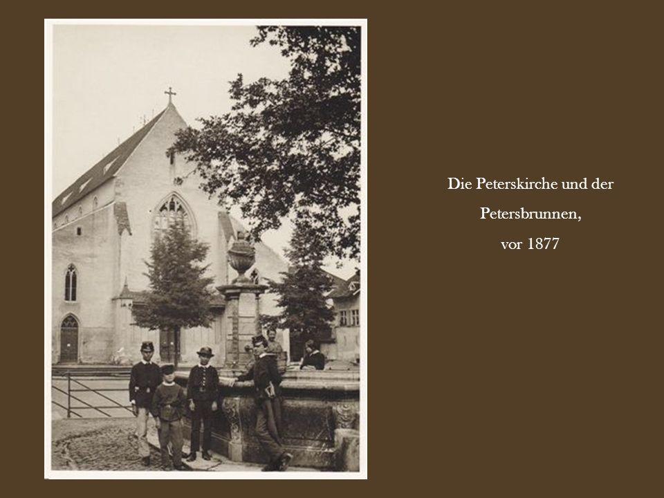 Die Peterskirche und der Petersbrunnen, vor 1877