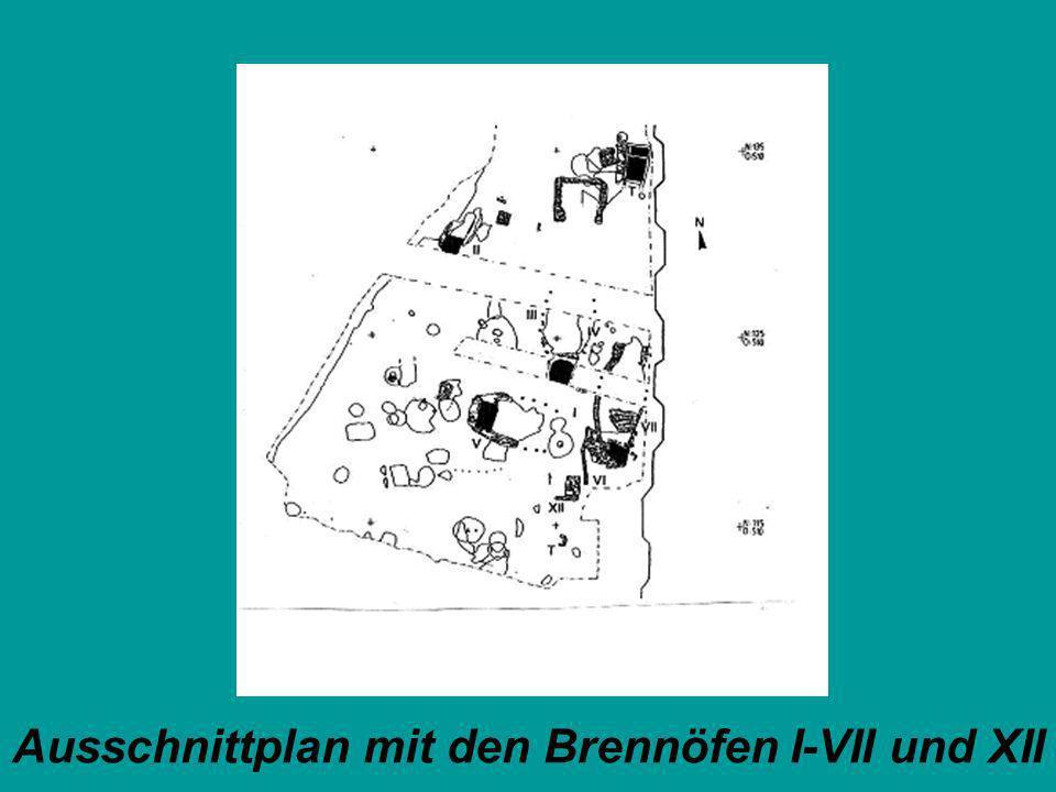 Ausschnittplan mit den Brennöfen I-VII und XII