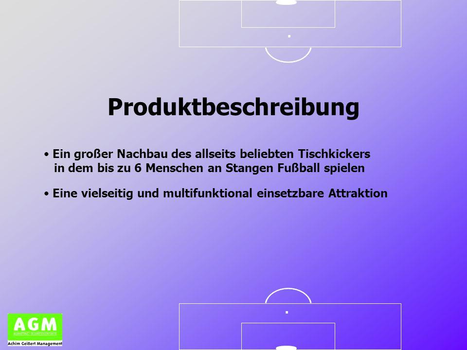 .. Ein großer Nachbau des allseits beliebten Tischkickers in dem bis zu 6 Menschen an Stangen Fußball spielen Produktbeschreibung Eine vielseitig und