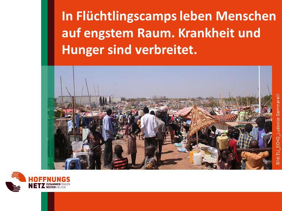 In Flüchtlingscamps leben Menschen auf engstem Raum.