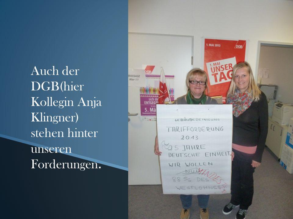 Auch der DGB(hier Kollegin Anja Klingner) stehen hinter unseren Forderungen.