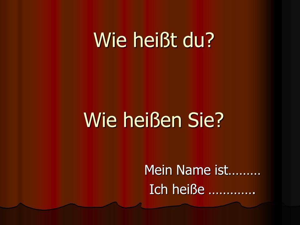 Wie heißt du? Mein Name ist……… Ich heiße …………. Wie heißen Sie?