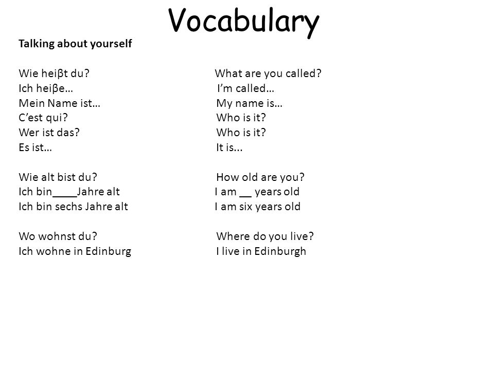 Vocabulary Talking about yourself Wie heiβt du.What are you called.