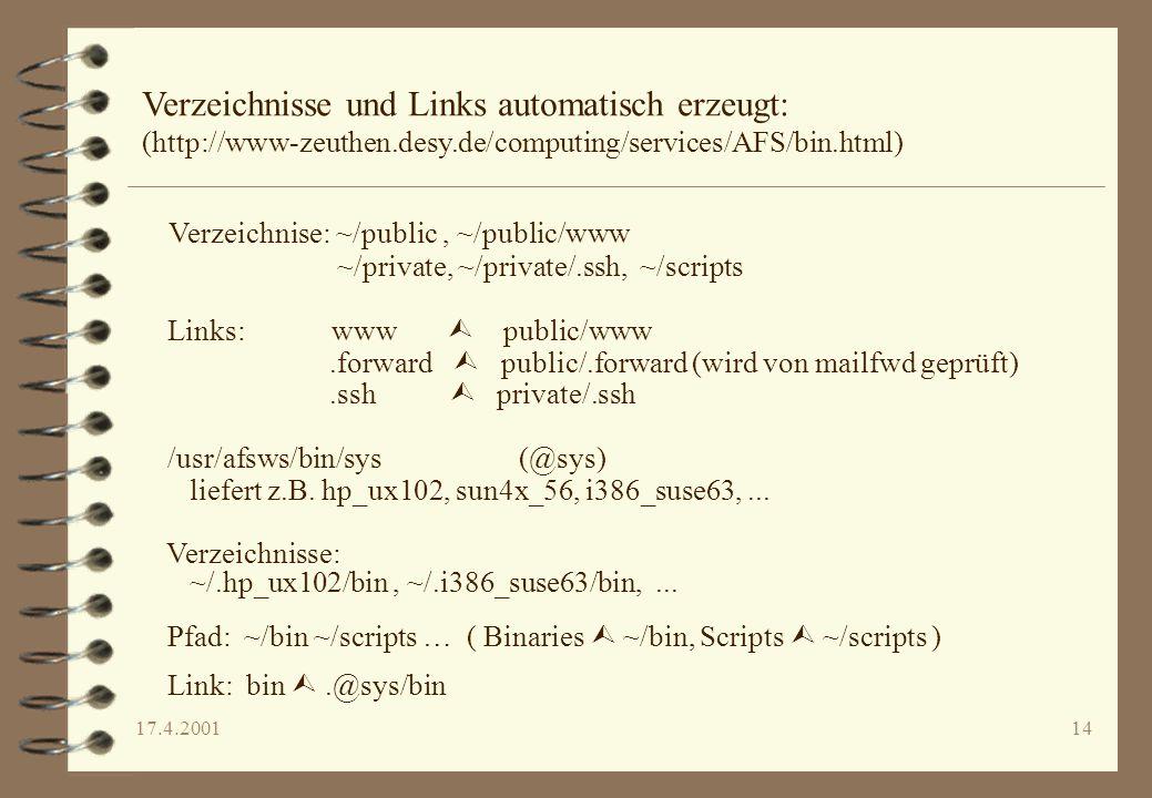 17.4.200114 Verzeichnisse und Links automatisch erzeugt: (http://www-zeuthen.desy.de/computing/services/AFS/bin.html) Verzeichnise: ~/public, ~/public