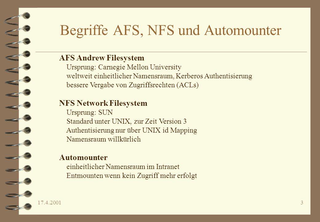 17.4.20013 Begriffe AFS, NFS und Automounter AFS Andrew Filesystem Ursprung: Carnegie Mellon University weltweit einheitlicher Namensraum, Kerberos Au