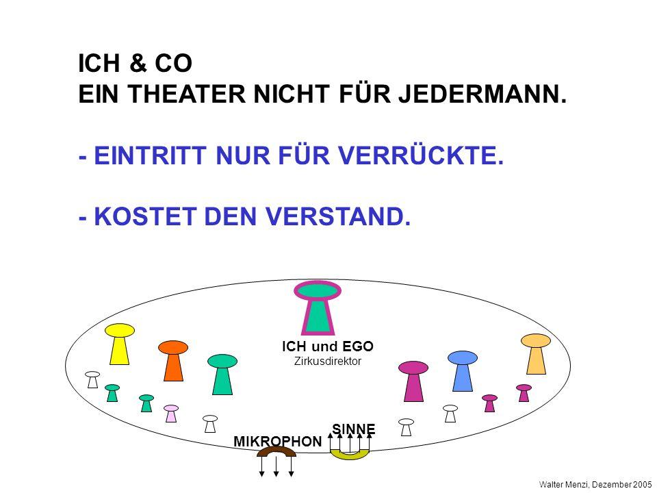 ICH und EGO Zirkusdirektor MIKROPHON SINNE Walter Menzi, Dezember 2005 ICH & CO EIN THEATER NICHT FÜR JEDERMANN. - EINTRITT NUR FÜR VERRÜCKTE. - KOSTE