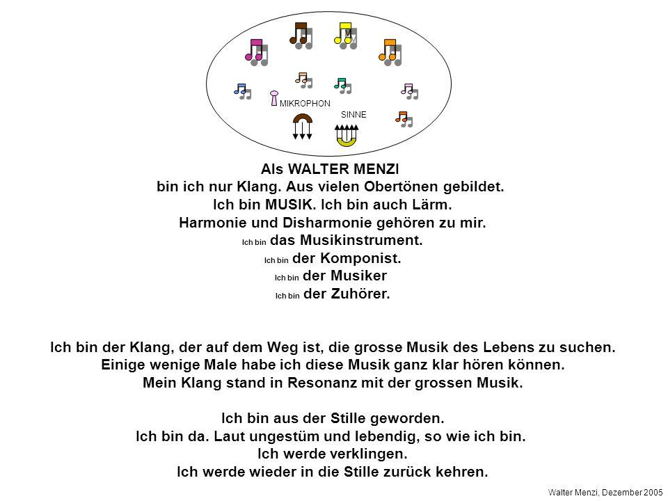 Als WALTER MENZI bin ich nur Klang.Aus vielen Obertönen gebildet.