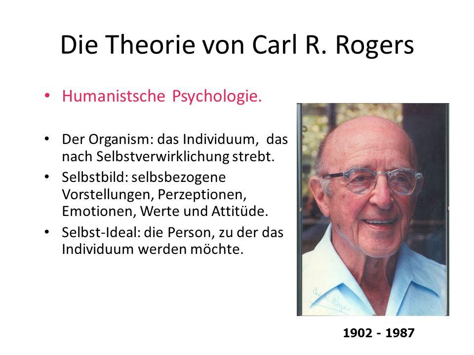 Die Theorie von Carl R. Rogers Humanistsche Psychologie. Der Organism: das Individuum, das nach Selbstverwirklichung strebt. Selbstbild: selbsbezogene