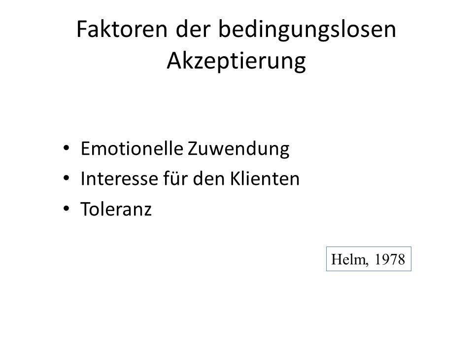 Faktoren der bedingungslosen Akzeptierung Emotionelle Zuwendung Interesse für den Klienten Toleranz Helm, 1978