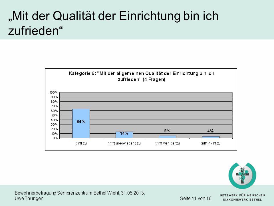 Bewohnerbefragung Seniorenzentrum Bethel Wiehl, 31.05.2013, Uwe Thürigen Seite 11 von 16 Mit der Qualität der Einrichtung bin ich zufrieden