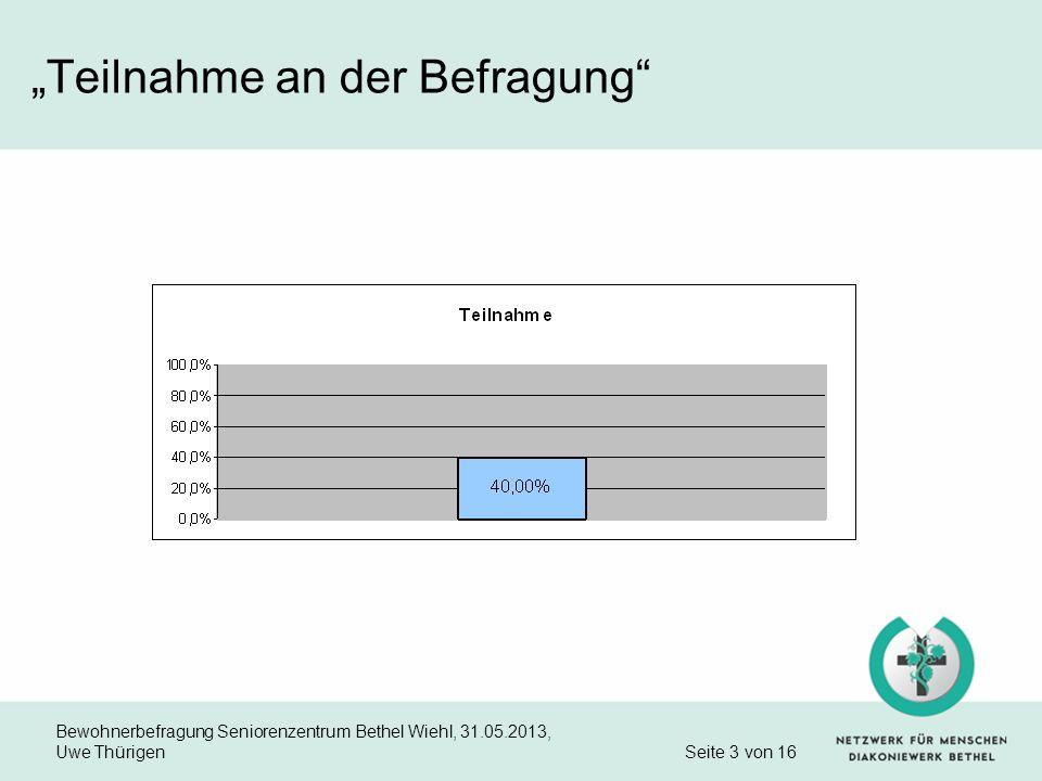 Bewohnerbefragung Seniorenzentrum Bethel Wiehl, 31.05.2013, Uwe Thürigen Seite 3 von 16 Teilnahme an der Befragung