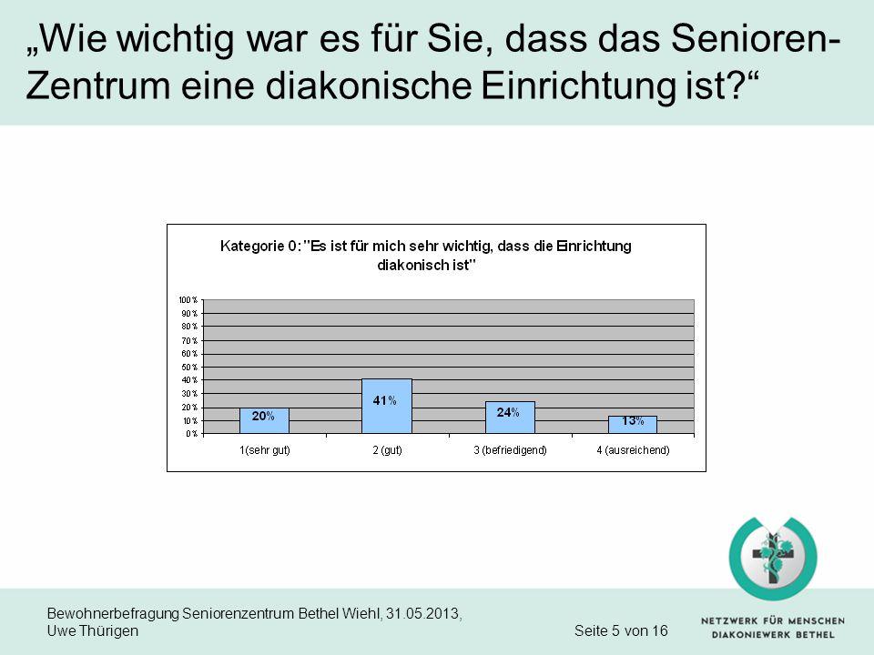 Bewohnerbefragung Seniorenzentrum Bethel Wiehl, 31.05.2013, Uwe Thürigen Seite 5 von 16 Wie wichtig war es für Sie, dass das Senioren- Zentrum eine di