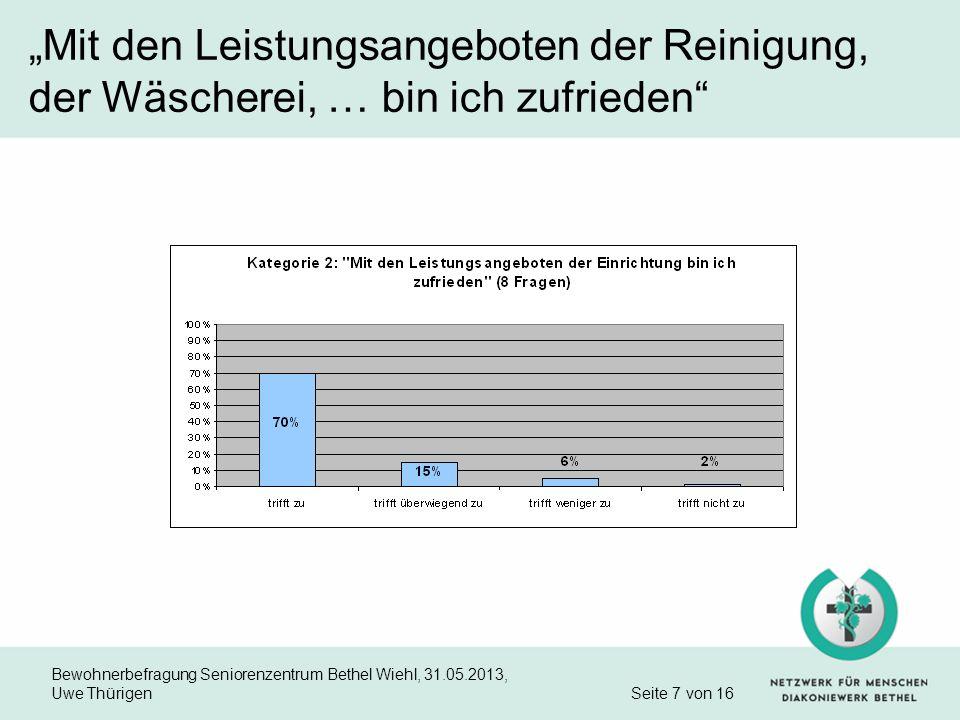Bewohnerbefragung Seniorenzentrum Bethel Wiehl, 31.05.2013, Uwe Thürigen Seite 7 von 16 Mit den Leistungsangeboten der Reinigung, der Wäscherei, … bin