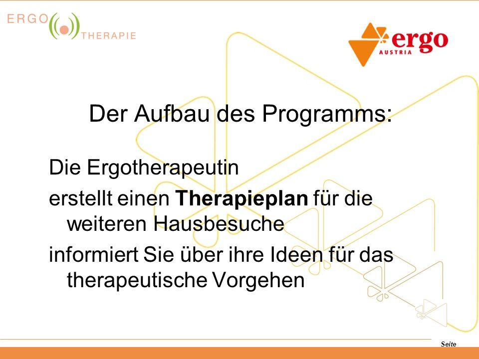Seite Die Ergotherapeutin erstellt einen Therapieplan für die weiteren Hausbesuche informiert Sie über ihre Ideen für das therapeutische Vorgehen Der