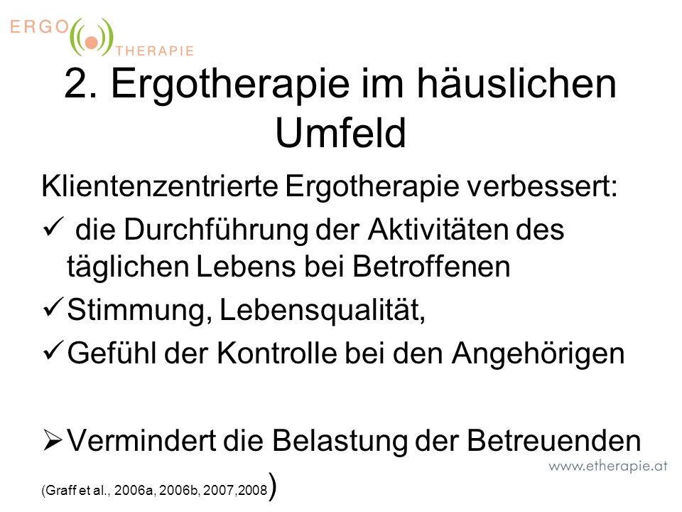 2. Ergotherapie im häuslichen Umfeld Klientenzentrierte Ergotherapie verbessert: die Durchführung der Aktivitäten des täglichen Lebens bei Betroffenen