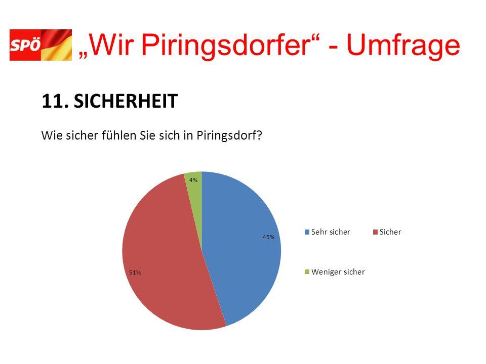 Wir Piringsdorfer - Umfrage 11. SICHERHEIT Wie sicher fühlen Sie sich in Piringsdorf