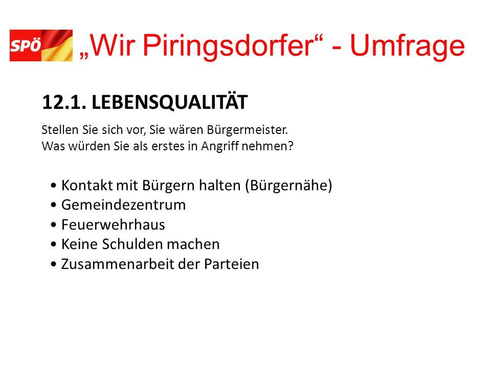 Wir Piringsdorfer - Umfrage 12.1. LEBENSQUALITÄT Stellen Sie sich vor, Sie wären Bürgermeister.