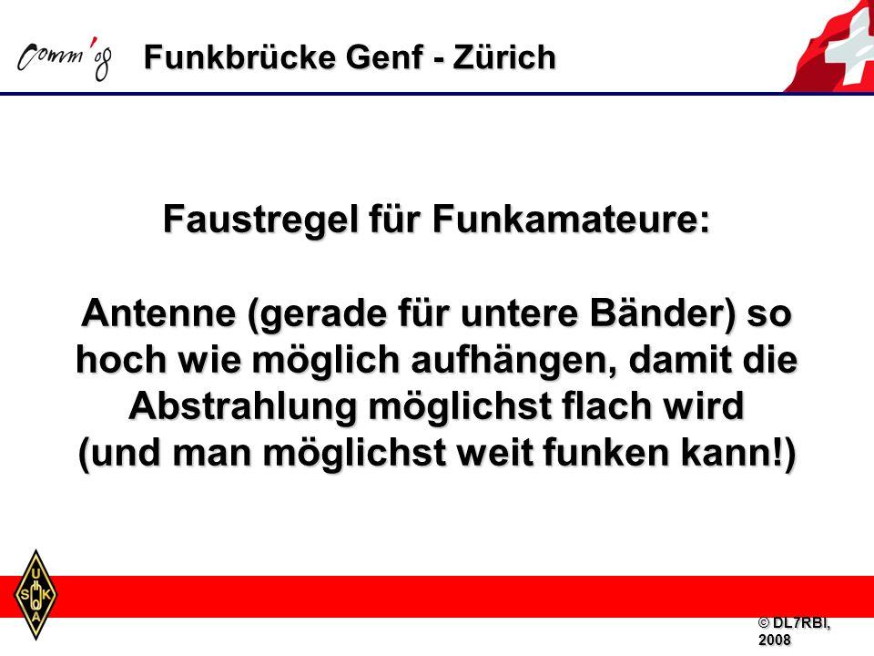 Funkbrücke Genf - Zürich Faustregel für Funkamateure: Antenne (gerade für untere Bänder) so hoch wie möglich aufhängen, damit die Abstrahlung möglichst flach wird (und man möglichst weit funken kann!) © DL7RBI, 2008