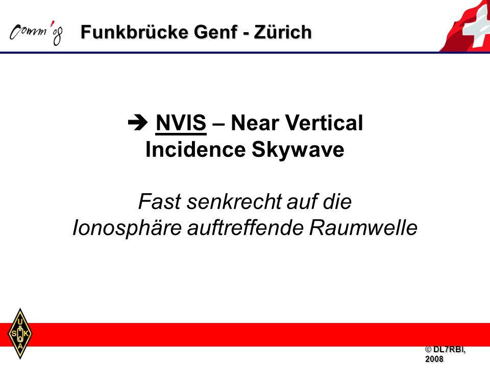 Funkbrücke Genf - Zürich NVIS – Near Vertical Incidence Skywave Fast senkrecht auf die Ionosphäre auftreffende Raumwelle © DL7RBI, 2008