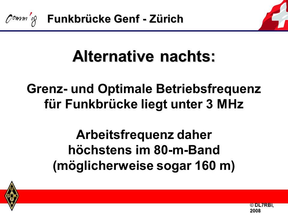 Funkbrücke Genf - Zürich Alternative nachts: Grenz- und Optimale Betriebsfrequenz für Funkbrücke liegt unter 3 MHz Arbeitsfrequenz daher höchstens im 80-m-Band (möglicherweise sogar 160 m) © DL7RBI, 2008