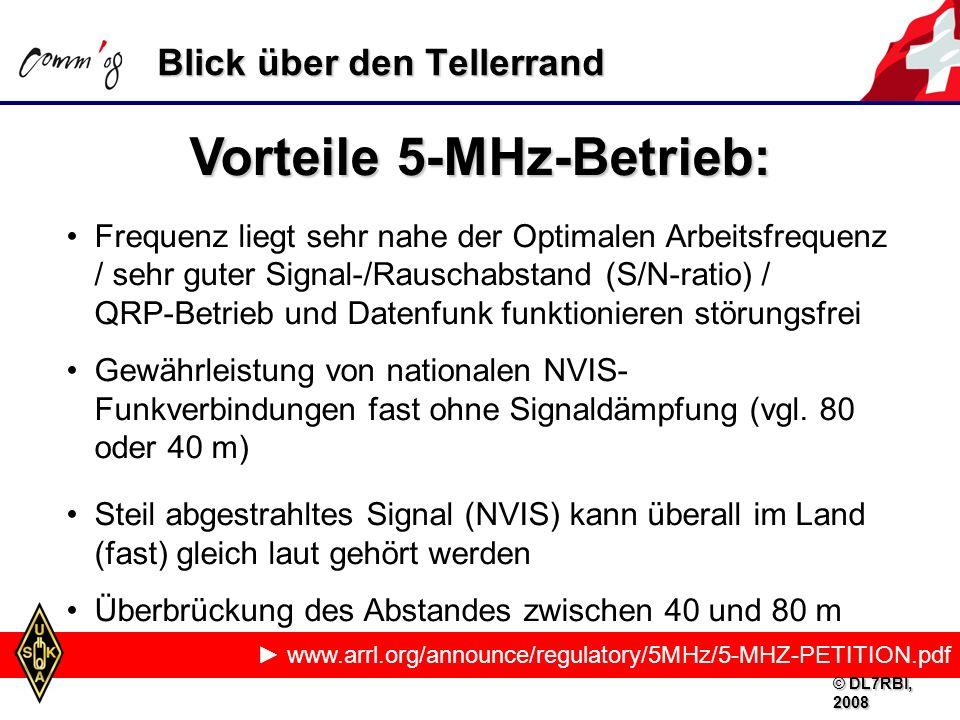 www.arrl.org/announce/regulatory/5MHz/5-MHZ-PETITION.pdf Vorteile 5-MHz-Betrieb: Frequenz liegt sehr nahe der Optimalen Arbeitsfrequenz / sehr guter Signal-/Rauschabstand (S/N-ratio) / QRP-Betrieb und Datenfunk funktionieren störungsfrei Gewährleistung von nationalen NVIS- Funkverbindungen fast ohne Signaldämpfung (vgl.