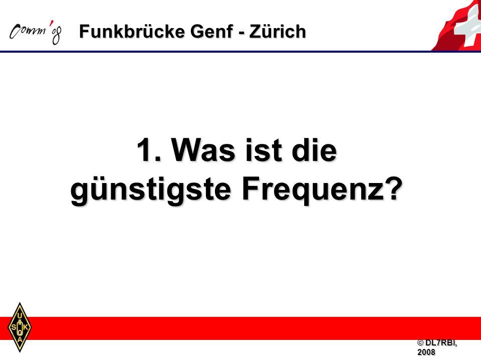Funkbrücke Genf - Zürich Faustregel: Optimale Betriebsfrequenz (FOT) = MUF (Maximum Usable Frequency) – 15 % © DL7RBI, 2008
