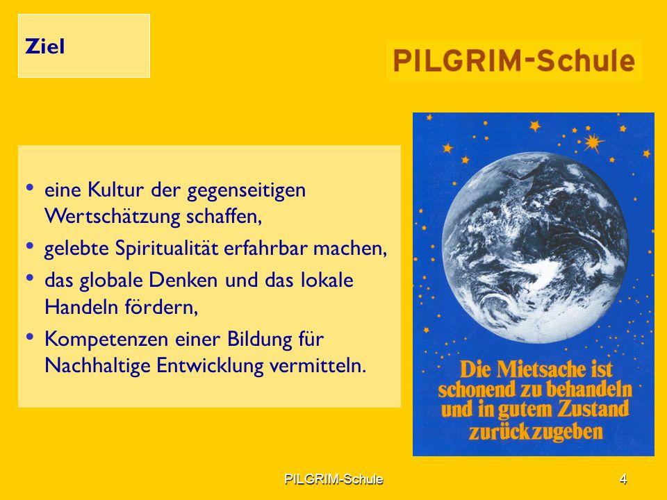 PILGRIM-Schule5PILGRIM-Schule5 Kompetenzen Fächerübergreifendes Denken Gemeinsam mit anderen planen und handeln können Verstehen von anderen Kulturen und Religionen Fähigkeit des Einfühlens und der Solidarität Vorausschauendes Denken und Handeln Kooperations- und Kommunikationsfähigkeit Fähigkeit sich und andere motivieren zu können Fähigkeit die eigene Weltanschauung zu reflektieren