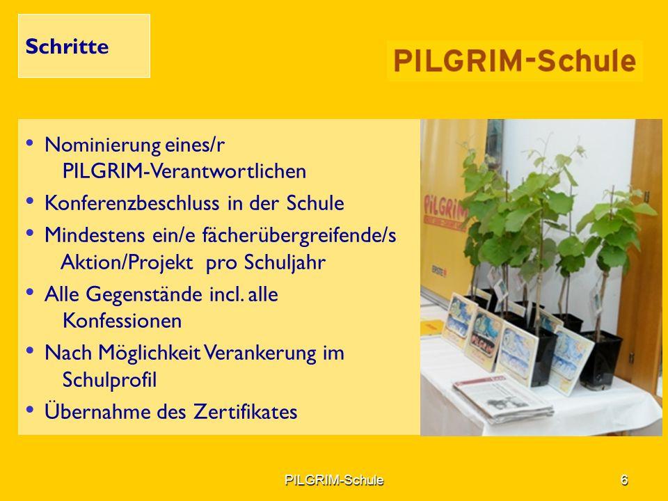 Nominierung eines/r PILGRIM-Verantwortlichen Konferenzbeschluss in der Schule Mindestens ein/e fächerübergreifende/s Aktion/Projekt pro Schuljahr Alle